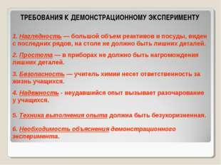 ТРЕБОВАНИЯ К ДЕМОНСТРАЦИОННОМУ ЭКСПЕРИМЕНТУ 1. Наглядность — большой объем ре