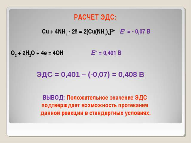 РАСЧЕТ ЭДС: Cu + 4NH3 - 2ē = 2[Cu(NH3)4]2+ Е° = - 0,07 В O2 + 2H2O + 4ē = 4OH...