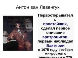 Антон ван Левенгук. Первооткрыватель простейших, сделал первоеописание эритр