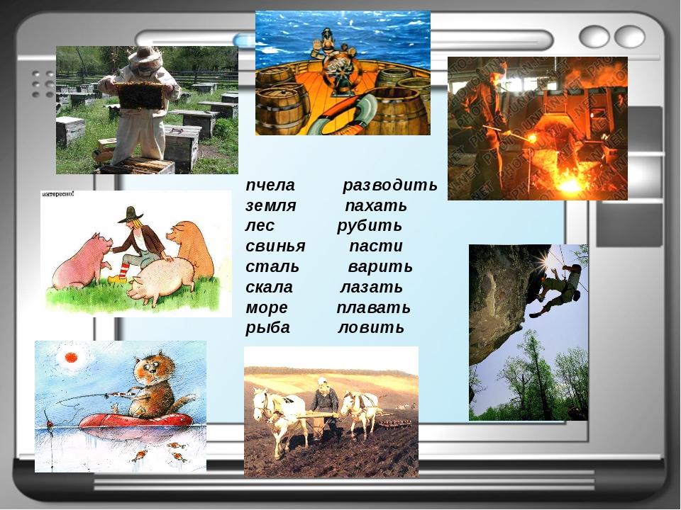 пчела разводить земля пахать лес рубить свинья пасти сталь варить скала лазат...