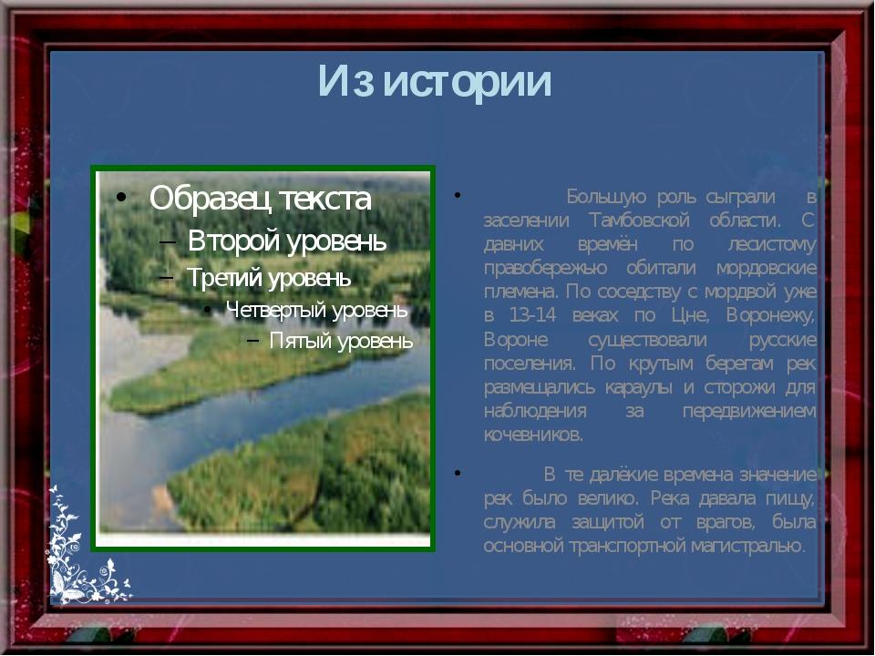 Из истории Большую роль сыграли в заселении Тамбовской области. С давних врем...