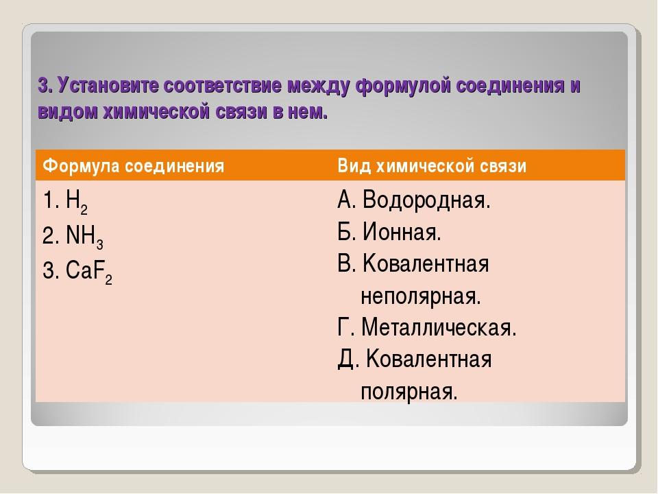 3. Установите соответствие между формулой соединения и видом химической связи...
