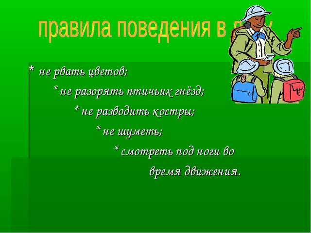 * не рвать цветов; * не разорять птичьих гнёзд; * не разводить костры; * не...