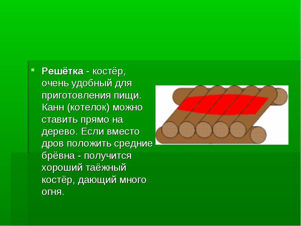 Решётка - костёр, очень удобный для приготовления пищи. Канн (котелок) можно...