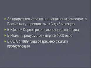 За надругательство на национальным символом в России могут арестовать от 3 до