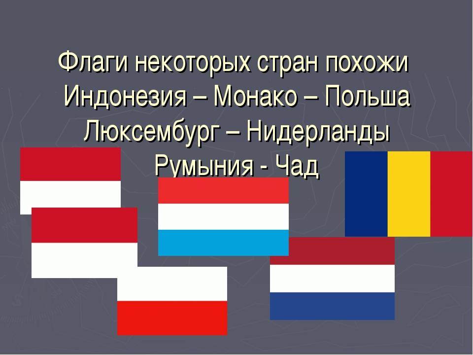 Флаги некоторых стран похожи Индонезия – Монако – Польша Люксембург – Нидерла...