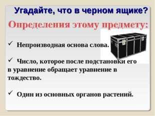 Угадайте, что в черном ящике? Непроизводная основа слова. Число, которое посл