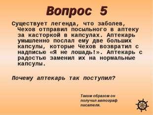 Вопрос 5 Существует легенда, что заболев, Чехов отправил посыльного в аптеку