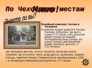 Мимо! Музейный комплекс Чехова в Таганроге В комплекс входят дома М.Е.Чехова,