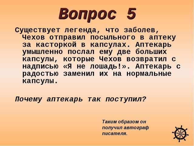 Вопрос 5 Существует легенда, что заболев, Чехов отправил посыльного в аптеку...