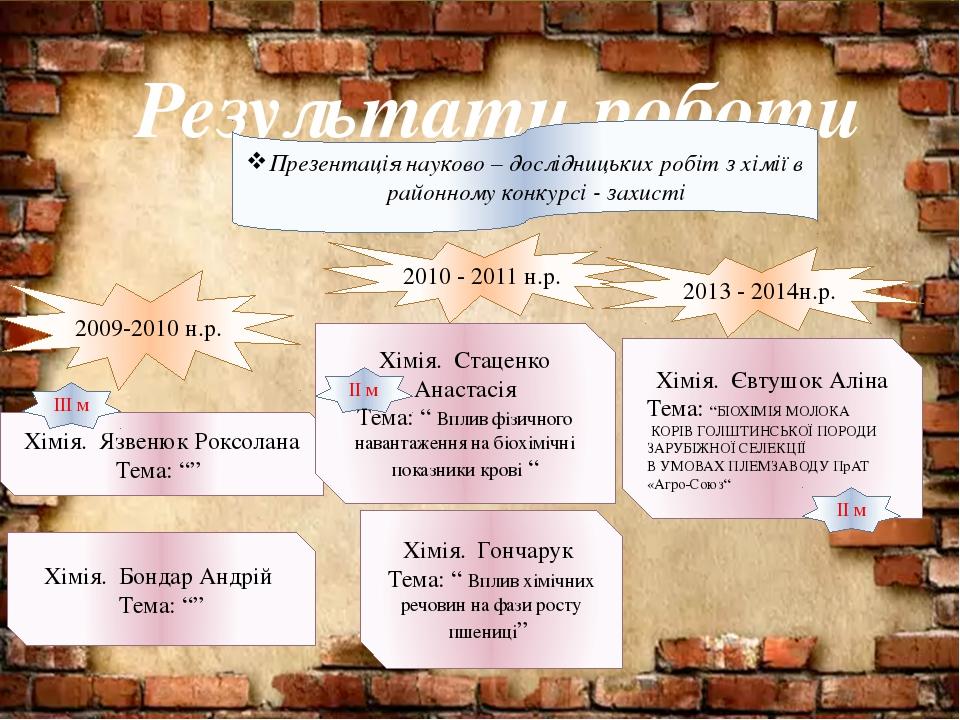 Результати роботи 2009-2010 н.р. Презентація науково – дослідницьких робіт з...