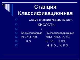 Станция Классификационная Схема классификации кислот. КИСЛОТЫ ↓ ↓ бескислоро