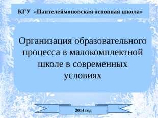 КГУ «Пантелеймоновская основная школа» Организация образовательного процесса