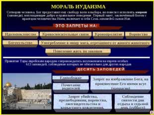 МОРАЛЬ ИУДАИЗМА Идолопоклонство Единобожие Сотворив человека, Бог предоставил
