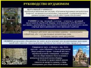 РУКОВОДСТВО ИУДАИЗМОМ Синагога (от греч. «собрание»; ивр. бейт-кнессет- «дом