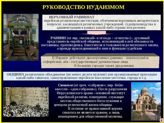 РУКОВОДСТВО ИУДАИЗМОМ Синагога (от греч. «собрание»; ивр. бейт-кнессет- «дом...