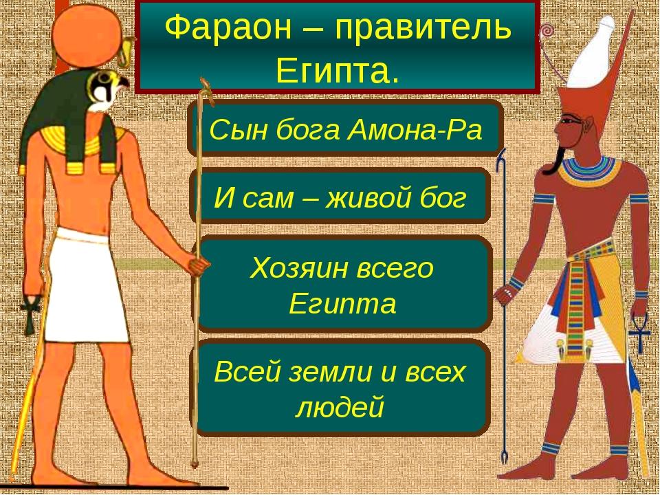 Фараон – правитель Египта. Сын бога Амона-Ра И сам – живой бог Хозяин всего Е...
