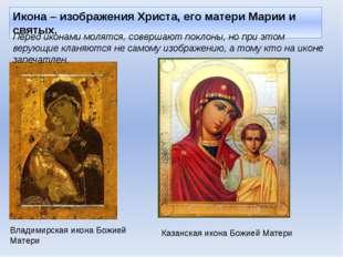 Икона – изображения Христа, его матери Марии и святых. Владимирская икона Бож