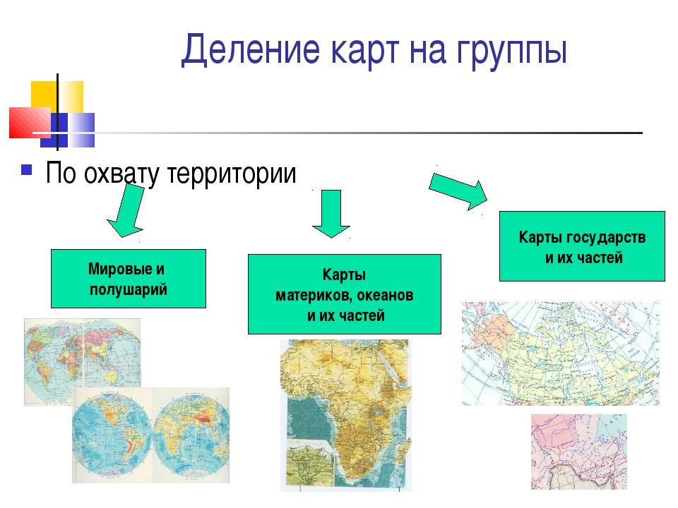 Деление карт на группы По охвату территории Мировые и полушарий Карты материк...