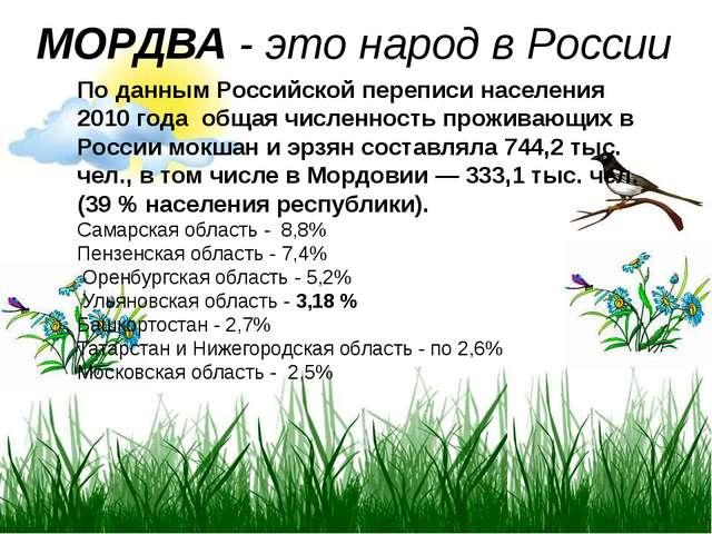 МОРДВА - это народ в России По данным Российской переписи населения 2010 года...