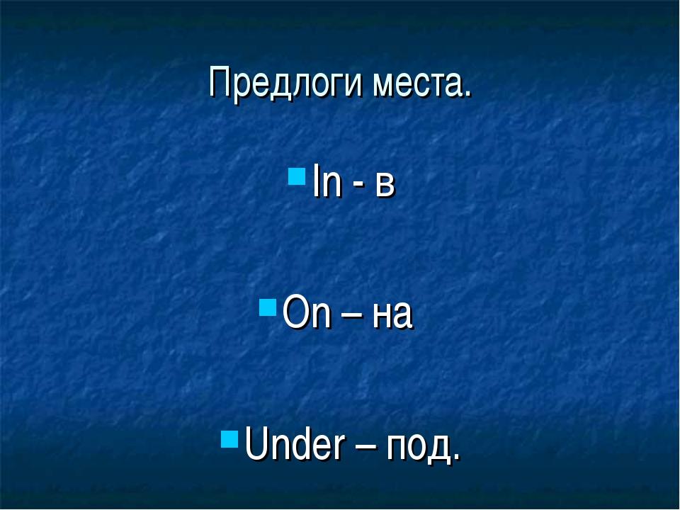 Предлоги места. In - в On – на Under – под.