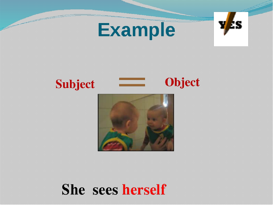 Example Subject Object She sees herself