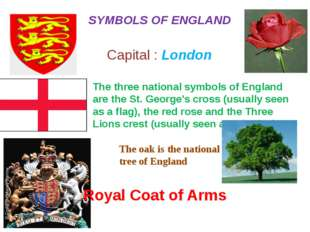 The three national symbols of England are the St. George's cross (usually see