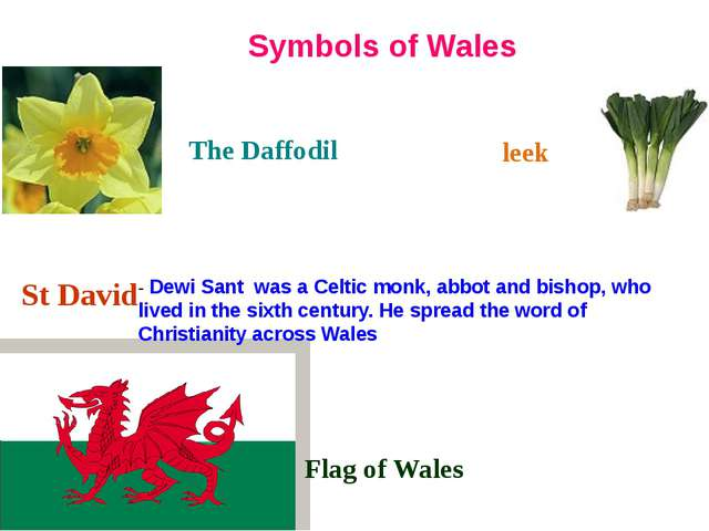 The Daffodil Symbols of Wales leek Flag of Wales St David - Dewi Sant was a...