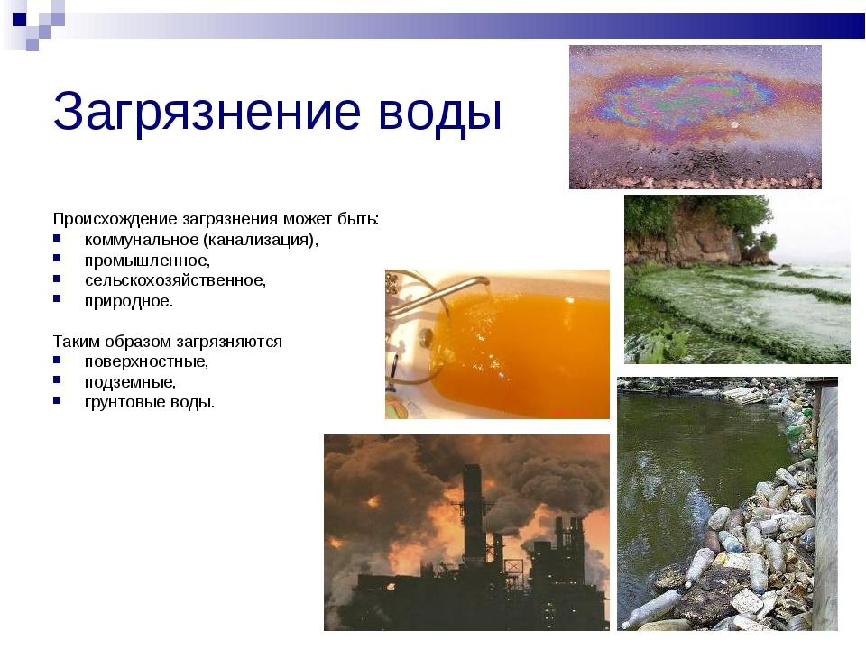 Загрязнение воды Происхождение загрязнения может быть: коммунальное (канализа...