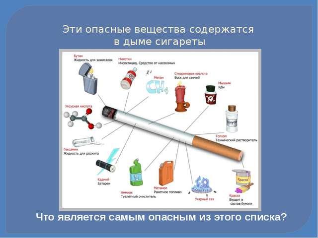 Эти опасные вещества содержатся в дыме сигареты Что является самым опасным из...