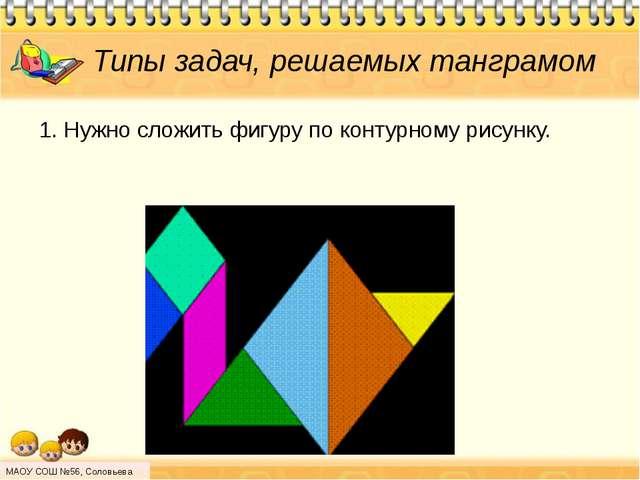 Типы задач, решаемых танграмом 1. Нужно сложить фигуру по контурному рисунку....