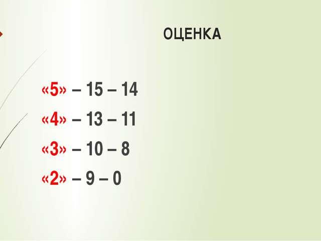 ОЦЕНКА «5» – 15 – 14 «4» – 13 – 11 «3» – 10 – 8 «2» – 9 – 0