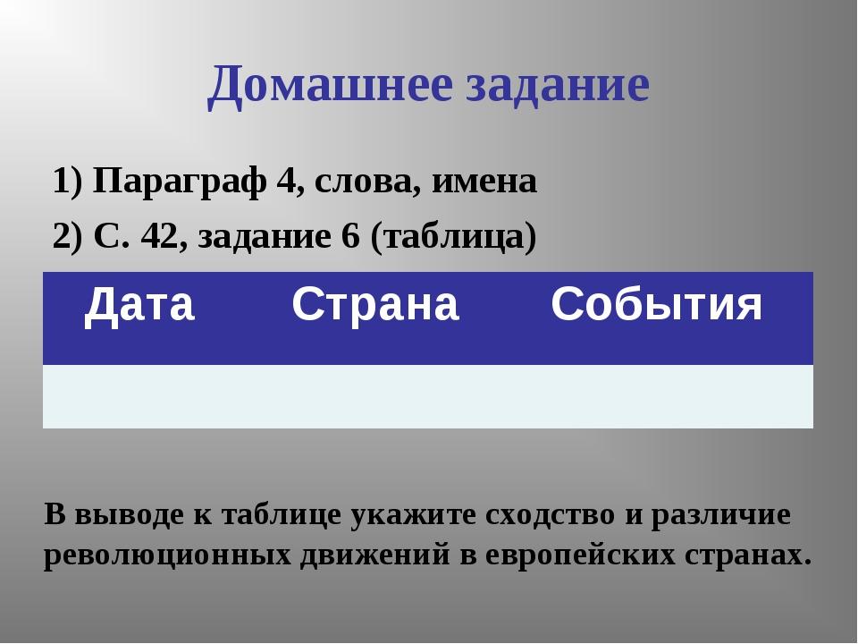 Домашнее задание 1) Параграф 4, слова, имена 2) С. 42, задание 6 (таблица) В...