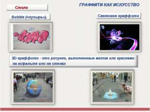 ГРАФФИТИ КАК ИСКУССТВО Bubble («пузырь»). Световое граффити 3D-граффити - эт