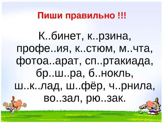 Пиши правильно !!! К..бинет, к..рзина, профе..ия, к..стюм, м..чта, фотоа..ар...