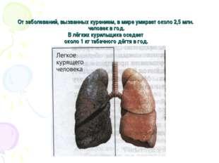 От заболеваний, вызванных курением, в мире умирает около 2,5 млн. человек в г
