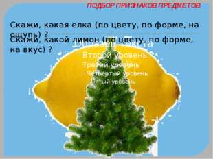 ПОДБОР ПРИЗНАКОВ ПРЕДМЕТОВ Скажи, какая елка (по цвету, по форме, на ощупь) ?