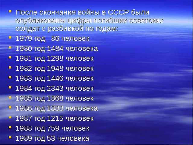 После окончания войны в СССР были опубликованы цифры погибших советских солда...