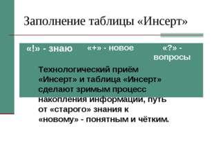 Заполнение таблицы «Инсерт» Технологический приём «Инсерт» и таблица «Инсерт»
