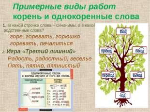 Примерные виды работ корень и однокоренные слова В какой строчке слова – сино