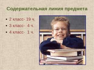 Содержательная линия предмета 2 класс- 19 ч. 3 класс- 4 ч. 4 класс- 1 ч.