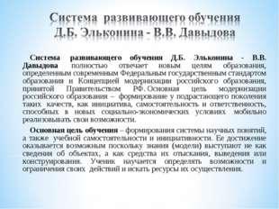 Система развивающего обучения Д.Б. Эльконина - В.В. Давыдова полностью отве