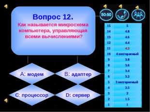 Вопрос 12. Как называется микросхема компьютера, управляющая всеми вычислени