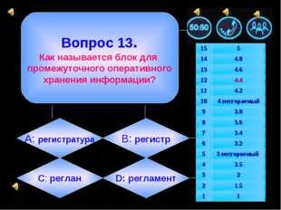 Вопрос 13. Как называется блок для промежуточного оперативного хранения инфо