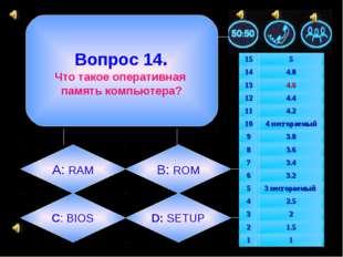 Вопрос 14. Что такое оперативная память компьютера? А: RAM B: ROM C: BIOS D: