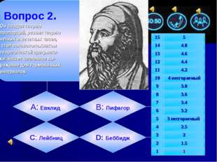 Вопрос 2. Он создал теорию пропорций, развил теорию четных и нечетных чисел,