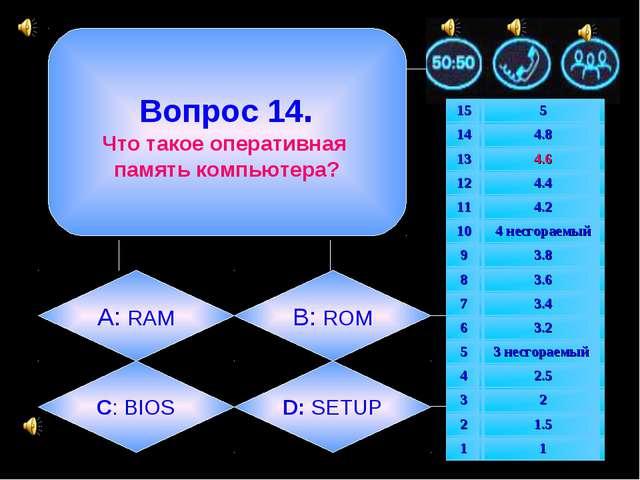 Вопрос 14. Что такое оперативная память компьютера? А: RAM B: ROM C: BIOS D:...