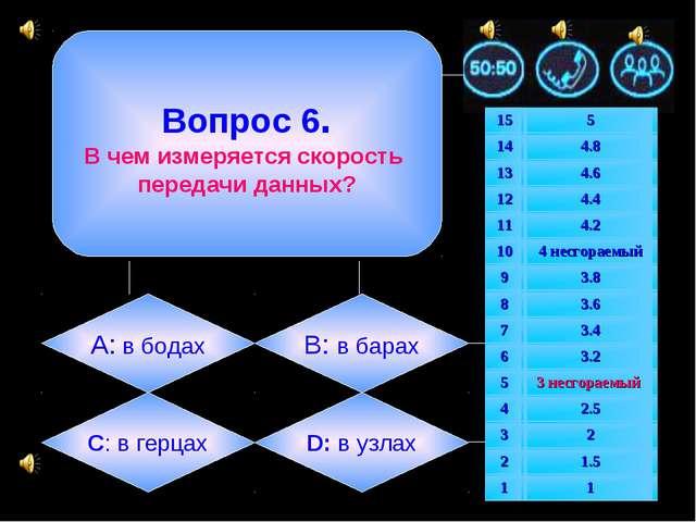 Вопрос 6. В чем измеряется скорость передачи данных? А: в бодах B: в барах C...