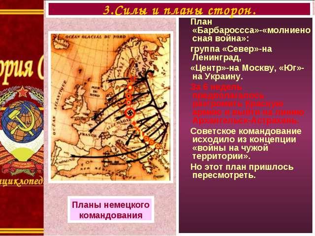 План «Барбароссса»-«молниеносная война»: группа «Север»-на Ленинград, «Центр...