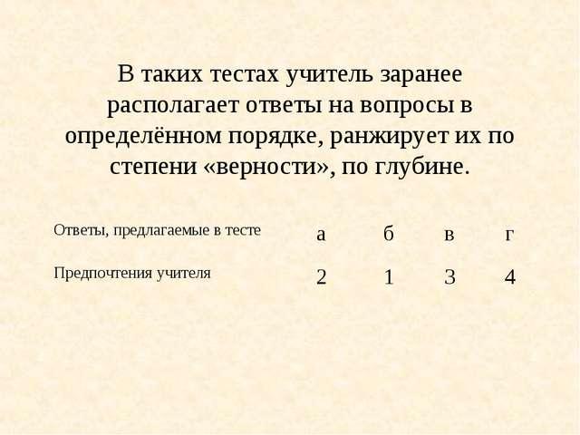 В таких тестах учитель заранее располагает ответы на вопросы в определённом...